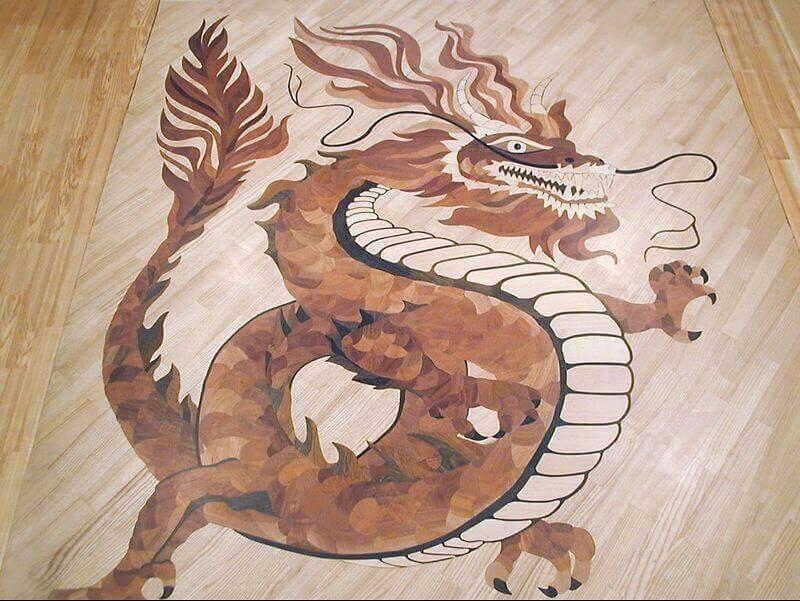 Укладка паркета в виде дракона